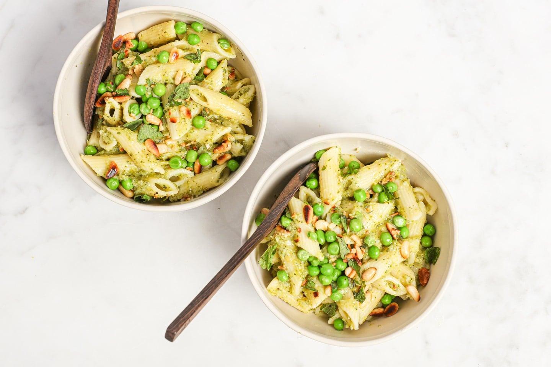 Vegan beans and greens pasta
