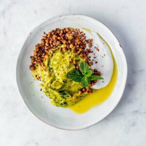 Spinazie-aardappelpuree met linzen
