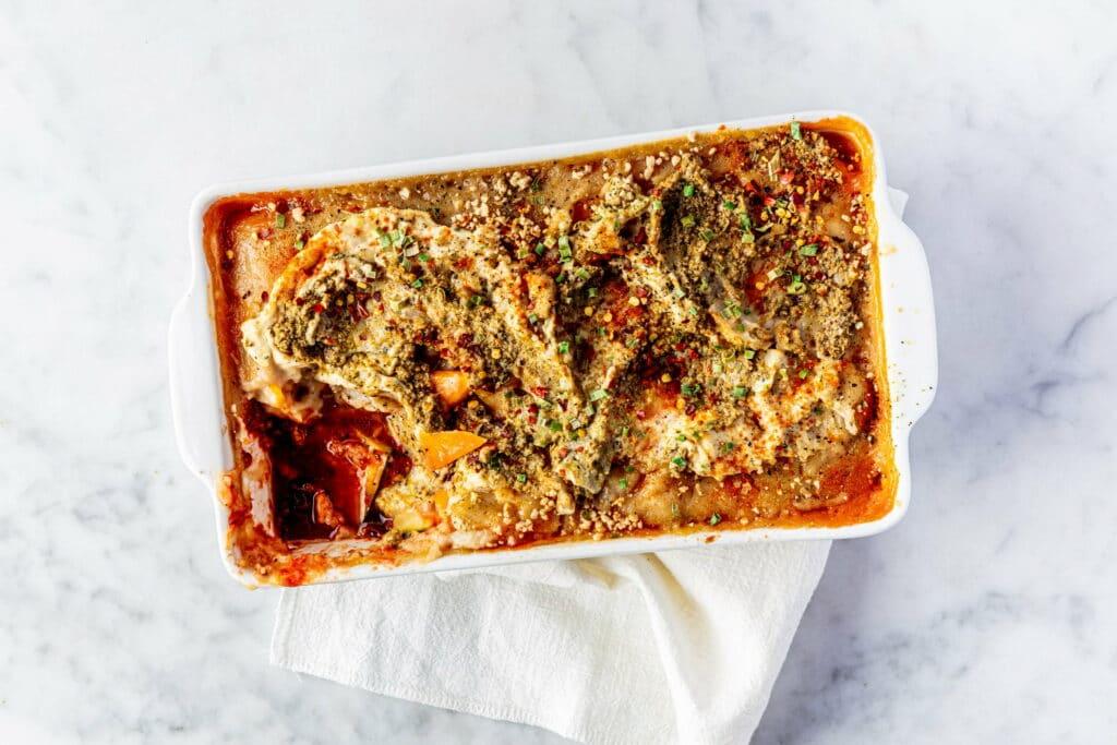 Courgette-pompoen lasagne