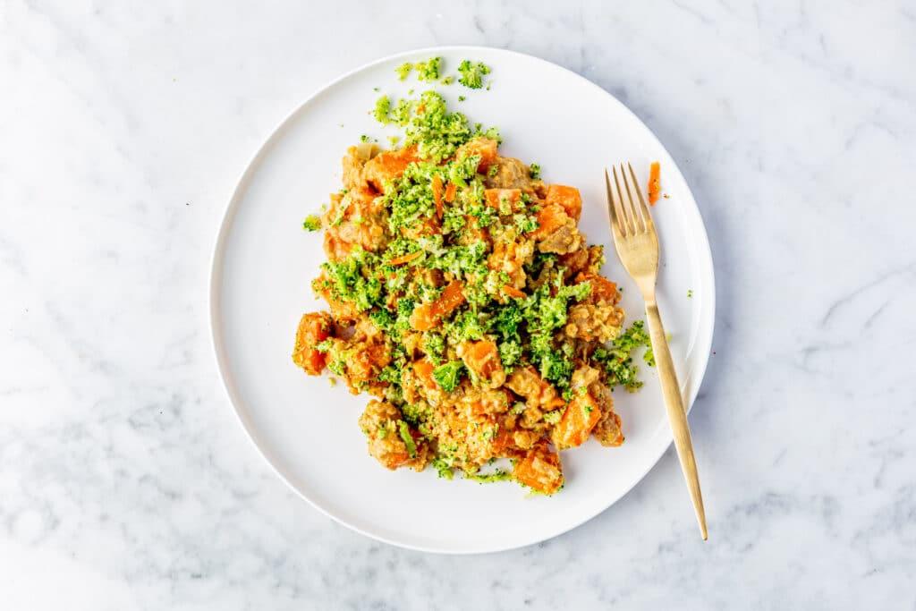 Pompoencurry met broccolirijst