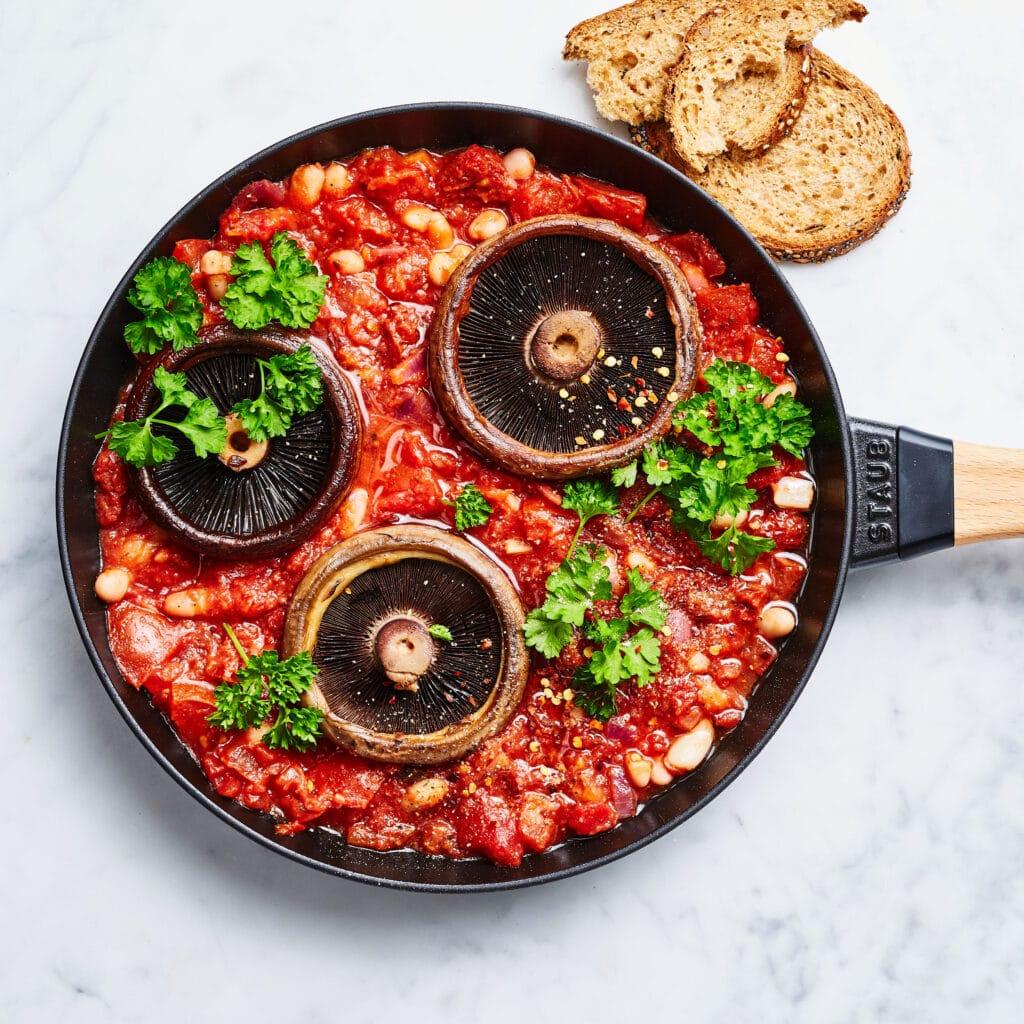 vegan shakshuka met portobello's