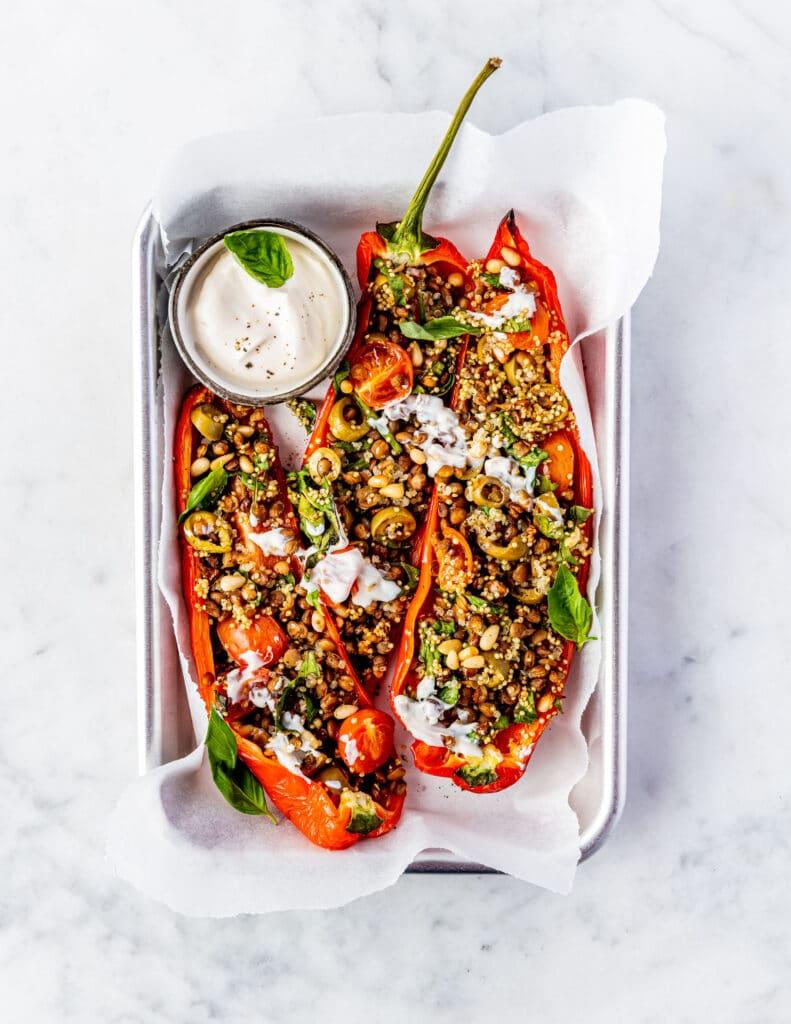 Easy Vegan Weight Loss Plan - Gevulde punt paprika