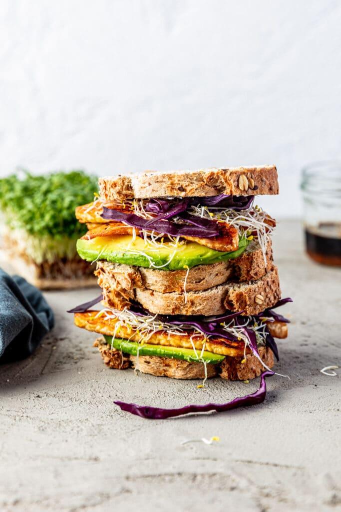 Vegan tempeh sandwich