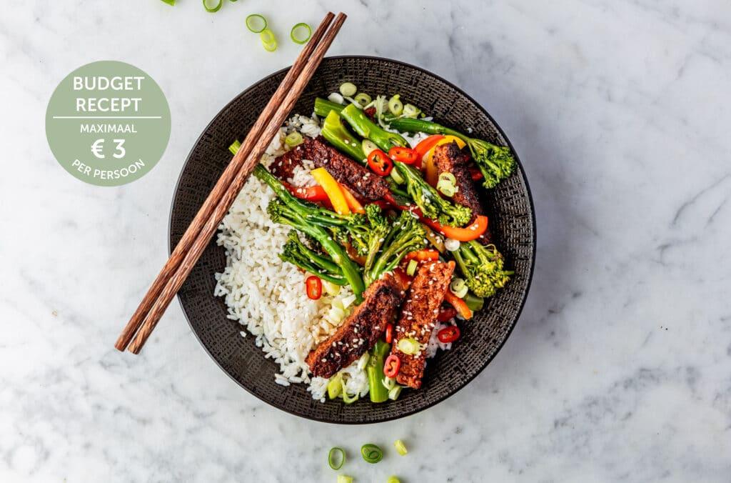 vegan beef roerbak budget recept