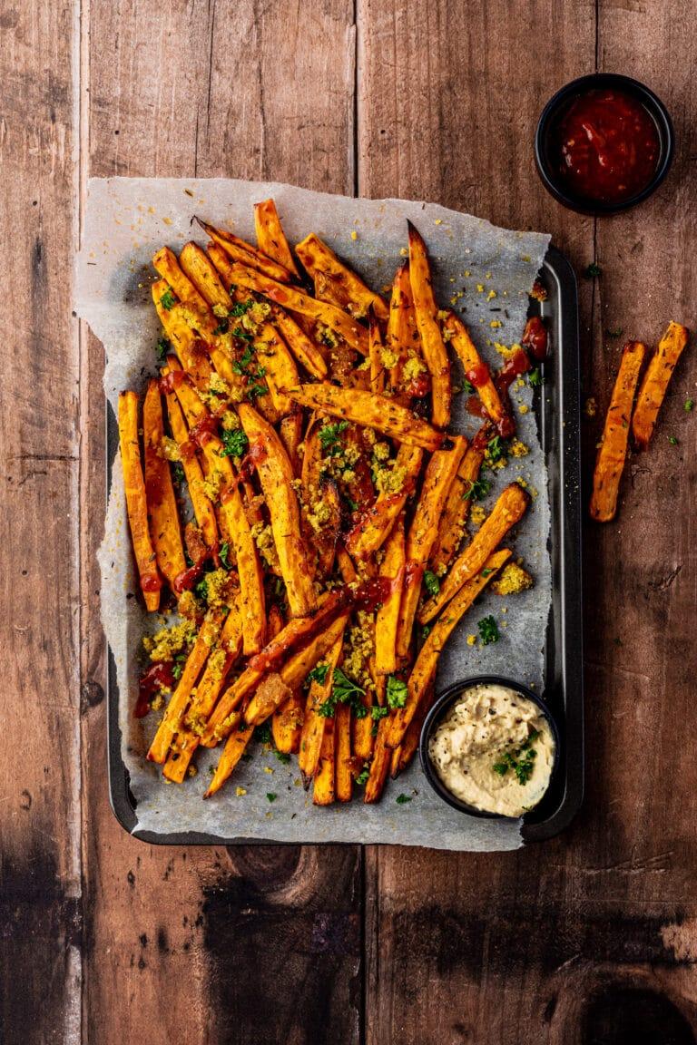 Frecious_Zoete aardappelfrietjes met falafel