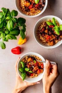 Gekarameliseerde tofu recept en aubergine recept
