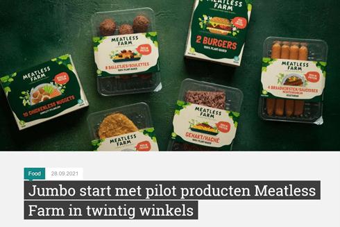 Vegan in het nieuws - Jumbo en Meatless Farm