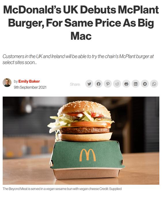 Vegan in het nieuws - McDonalds McPlantBurger