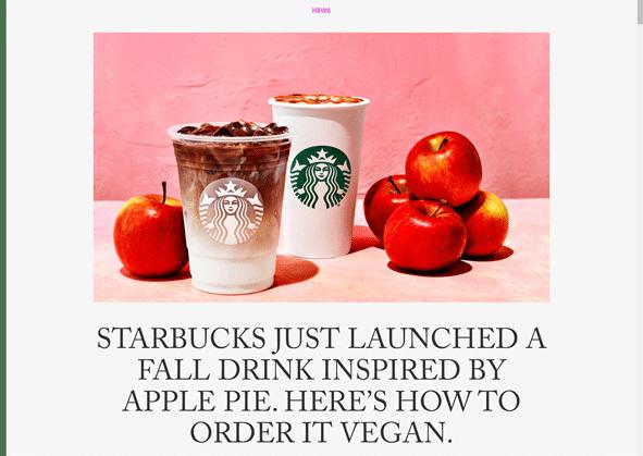 Vegan in het nieuws - Starbucks lanceerd vegan herfstdrankje