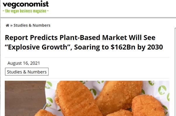 Vegan in het nieuws - groei plantaardige mrkt 162 biljoen dollar