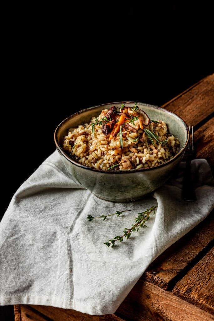 Vegan risotto met paddenstoelen