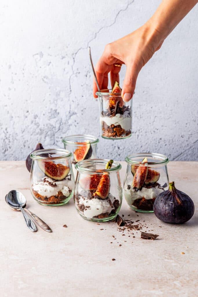 vegan vijgen cheesecake in een glas recept