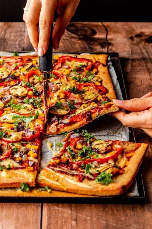 Vegan plaatpizza recept